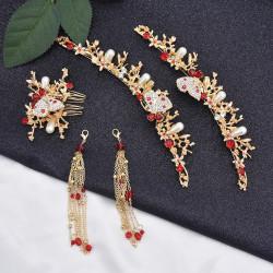F-0781 Golden Pearl Rhinestone Butterfly Hair Ornament Headdress Earring Set