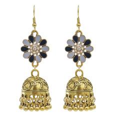 E-5865 Vintage Ethnic Style Tassel Bell Beads with Enamel Flower-shaped  Jhumka Earrings for Women