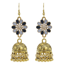 E-5865 Vintage Ethnic Style Tassel Bell Beads with Enamel Flower-shaped  Jhumka Earrings for Women