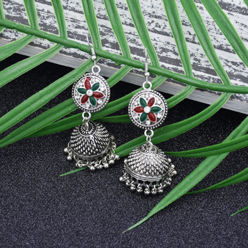 E-5867 Indian Jhumka Earrings for Women Boho Flower Bells Tassel Statement Earring Gypsy Party Jewelry