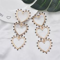 E-5868 Fashion Rhinestone Heart Pendant Long Earrings for Women Wedding Party Jewelry Gift