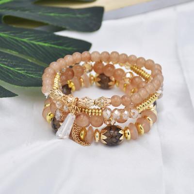 B-1057 4Pcs/Set Boho Style Adjustable Beaded Bracelets Bangle for Women Vacation Jewelry Accessory