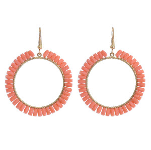 E-5872 4 Colors Bohemian style Acrylic Beads Round Circle Drop Dangle Earrings for Women Party Jewelry Gift