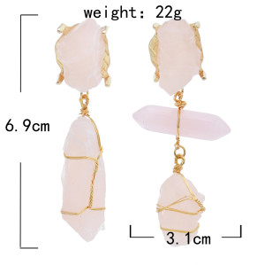 E-5870 Imitation Stone Acrylic Metal Winding Pendant Earrings