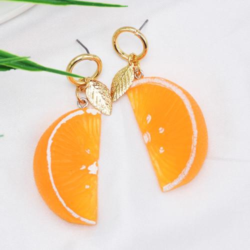 E-5874 Fashion Three-dimensional Simulation Orange Fruit Earrings Female Jewelry