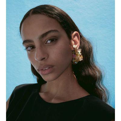 E-5875 Fashion Hand-woven Acrylic Crystal Flower Tassel Earrings