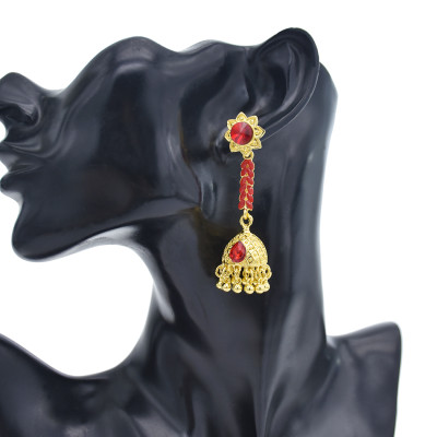 E-5876 Classic Golden Flower Diamond Pendant Bell Tassel Earring Party Gift Women Jewelry