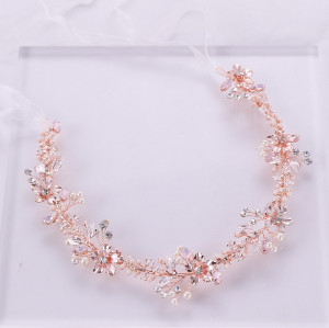 F-0783 Elegant Rose Gold Flower Crystal Pearl Headbands Bridal Party Wedding Hair Accessories
