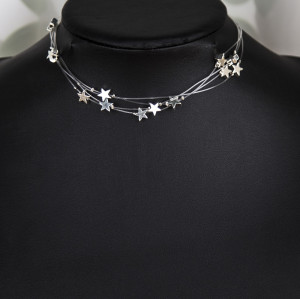 N-7399 Fashion Multilayer Transparent Hose Star Necklace Clavicle Chain