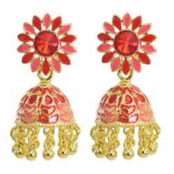 E-5880 Indian Jhumka Earrings for Women Gold Metal Sunflower Crystal Bells Tassel Earring Party Jewelry Gift