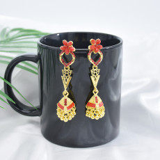 E-5881 Vintage Jhumka Earrings for Women Gold Metal flower Crystal Bells bead Tassel Earring Party Afghan indian Jewelry Gift