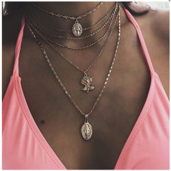 N-7400 Multilayer Gold Chain Coin Pendant Necklaces