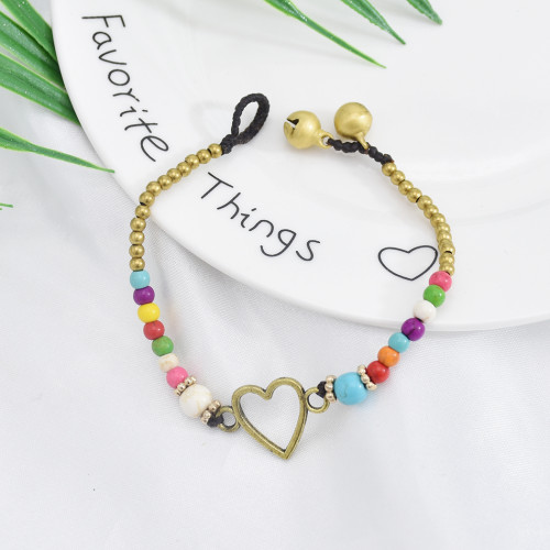 B-1059 Vintage golden bells colorful beads woven bracelets charming jewelry accessories