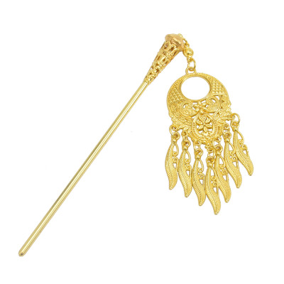 F-0784 Antique Vintage China Ethnic Hair Sticks Carved Flower Pendant Tassel For Women Unique Jewelry Hair Accessories