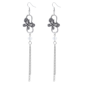 E-5852 Vintage Silver Metal Acrylic Beads Butterfly Drop Earrings for Women Wedding Party Jewelry Gift