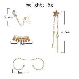 E-5885  4Pcs/Set Bohemian Style Gold Alloy Rhinestone Moon Star Stud Earrings for Women Party Jewelry