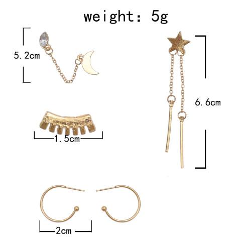 E-5885  4Pcs/Set Bohemian Style Gold Alloy Rhinestone Moon Star Stud Earrings for Women Party Jewelry