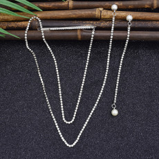 E-5888 New Long Crystal Tassel Pearl Dangle Earrings for Women Wedding Drop Earrings with hairpin Fashion Jewelry Gifts
