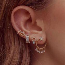 E-5887  5Pcs/Set Bohemian Style Gold Alloy Rhinestone Moon Star tassel Stud Earrings for Women Party Jewelry