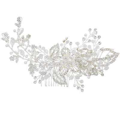 F-0786  Classic silver diamond crystal white pearl hair accessories wedding braided headdress party women jewelry