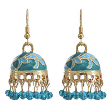 E-5891 Vintage Gold Alloy Bells Tassel Birdcage Indian Jhumka Earrings for Women Bohemian Party Jewelry