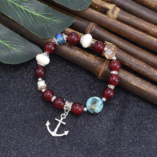 B-1063  Pattern color beads transparent crystal bracelet ethnic style beaded ladies new jewelry