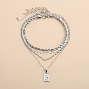 N-7406  4Pcs/Set Silver Gold Chain Human Head Pendant Choker Necklaces for Women Bohemian Party Jewelry