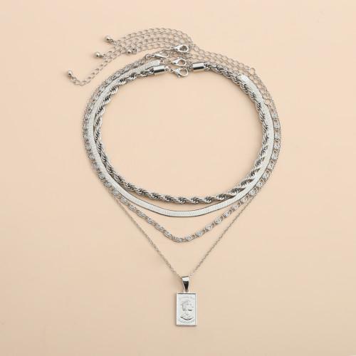 N-7406  4Pcs/Set Silver Gold Chain Human Head Pendant Choker Necklaces for Women Bohemian Party Jewelry