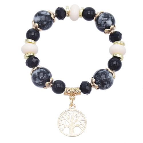 B-1064  Bohemia Vintage white/brack beaded gold alloy tree shape bracelet bangle summer hand Bracelet Jewelry
