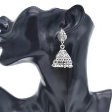 E-5894  Vintage Silver Leaf Pendant Hollow Bell Earrings Silver Bead Tassel Party Gift Women Jewelry