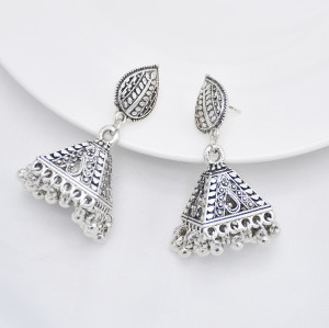 E-5894  Vintage Silver Leaf Pendant Hollow Bell Earrings Silver Bead Tassel Party Gift Women Jewelry