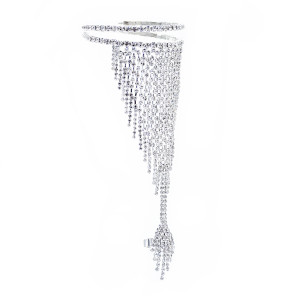 B-1066 Fashion shiny crystal bracelet bangle with ring Jewelry
