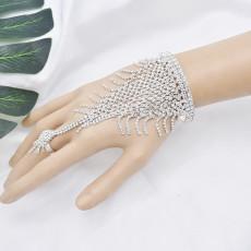 B-1066 Fashion shiny crystal bracelet bangle with ring Jewelry