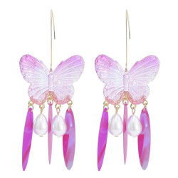 E-5898   4 Colors Eelgant Butterfly Shape Drop Earrings for Women Girl Pearl Beaded Statement Earring Party Jewelry
