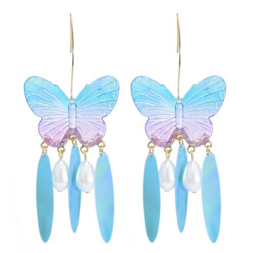 E-5898   4 Colors Eelgant Butterfly Shape Drop Earrings for Women Girl Pearl Beaded Statement Earring Party Jewelry