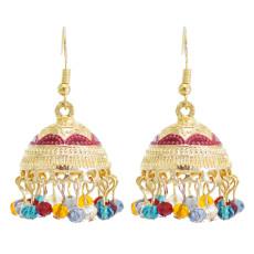 E-5899  Indian Gold Metal Bells Tassel Earrings for Women Bohemian Acrylic Beaded Statement Earring Party Jewelry Gift