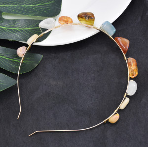 F-0788  Fashion inlaid colored stones golden hair band crystal hair accessories gift women accessories