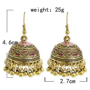 E-5901  Vintage gold metal alloy beaded tassel earrings Indian Afghan Jewelry