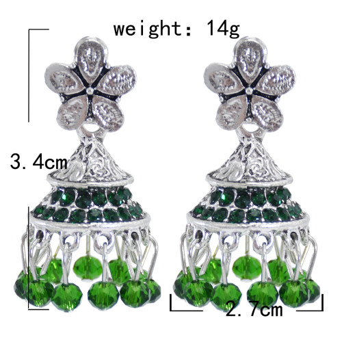 E-5903  Vintage silver with colored glass beads tassels diamond crystal bell earrings party gift women  jewelry