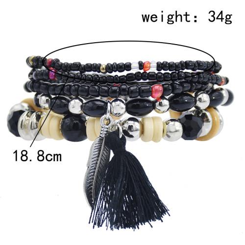 B-1068 5Pcs/set Bohemian Acrylic Beads Statement Bracelets for Women Summer Holiday Party Jewelry Gift