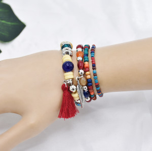 B-1068 5Pcs/set Bohemian Acrylic Beads Statement Bracelets for Women Summer Holiday Party Jewelry Gift