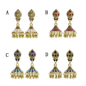 E-5905 Vintage crystal bell tassel earrings party gift women Jewelry