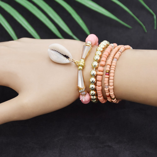 B-1070  5pcs/set of pearl luster beads shell pendant colorful crystal bracelet women summer holiday party jewelry gift