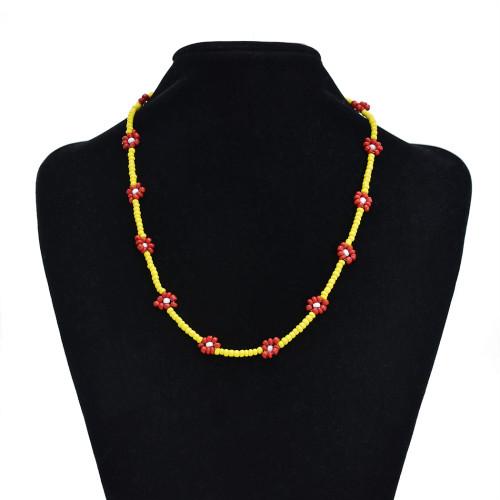 N-7407  Fashion Simple Beads Strand Necklace Bracelet Set Women String Beaded Short Women Necklace Jewelry Chokers Bracelet Gift