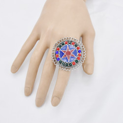 R-1528  Bohemian Vintage Silver Alloy Enamel Rhinestone Finger Rings for Women Adjustable Indian Party Jewelry
