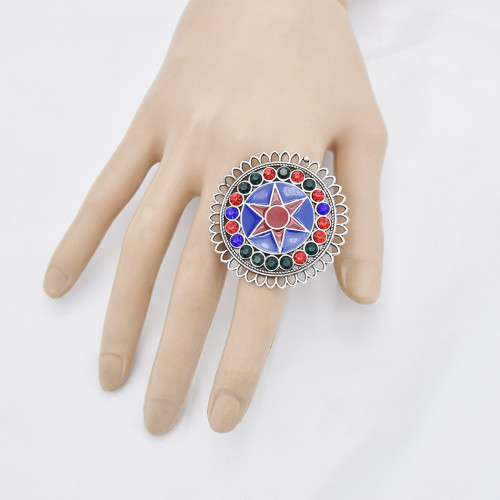 R-1528  Bohemian Vintage Silver Alloy Enamel Rhinestone Finger Rings for Women Adjustable Indian Party Jewelry