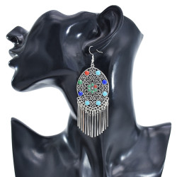 E-5908  Vintage silver inlaid colorful gems coin tassel pendant earrings party gift women jewelry