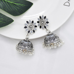 E-5909  Vintage Indian Jhumka Earrings for Women Silver Colorful Flower Bells Tassel Earring Party Jewelry Gift