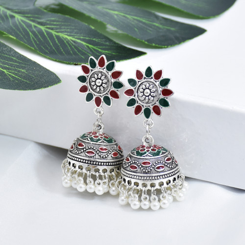 E-5909  Vintage Indian Jhumka Earrings for Women Silver Colorful Flower Bells Tassel Earring Party Jewelry Gift