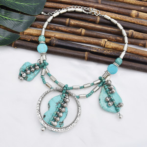 N-7408  Silver Chain turquoise green stone Pendant Choker Necklaces for Women Bohemian Party Jewelry